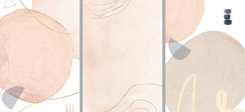 Ready to use Card. watercolor Illustration and gold,  isolated on white background. Abstract modern  print. Template