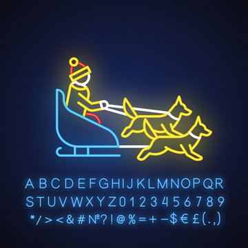 Dog sledding neon light icon. Winter extreme sport, risky activity and adventure. Cold season outdoor leisure. Person dogsledding. Glowing sign with alphabet. Vector isolated illustration