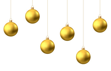 Fotomurales - Golden  hanging Christmas balls isolated on white  background.