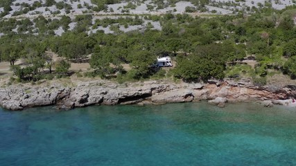 Wall Mural - Aerial Footage of Scenic Adriatic Mediterranean Sea Summer and the Camping Site with RV Camper Van. Motorhome Road Trip.