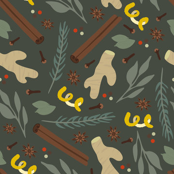 Vector seamless pattern of different spices