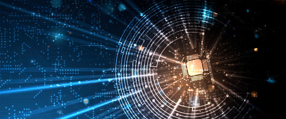 Fototapeta Abstract circuit board futuristic technology processing background obraz