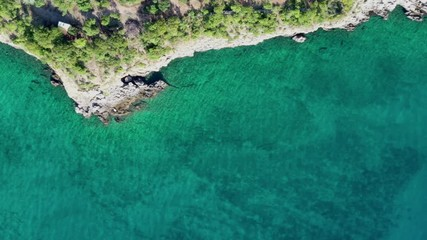 Wall Mural - Rocky Shore of Adriatic Sea in the Northern Croatia. Aerial Footage.
