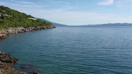 Wall Mural - Croatian Coastal. Turquoise Waters of the Mediterranean Sea. Aerial Footage