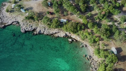 Wall Mural - September 20, 2019. Village of Sibinj Krmpotski, Croatia.  Scenic RV Park Camping. Camp Kozica. Aerial Footage.
