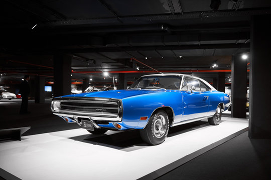 Dodge Charger 1970. muscle car from ca.  American classic cars. Classic Car exhibition - Heydar Aliyev Center, Baku, Azerbaijan - 26,04,2017