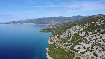 Wall Mural - Croatian Coastal Highway and Turquoise Waters of the Mediterranean Sea. Aerial Footage
