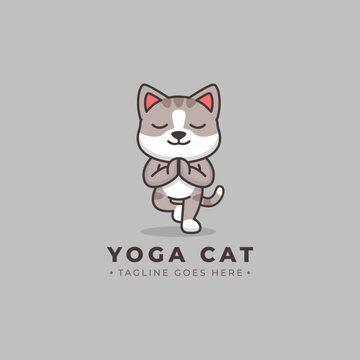 Cute Cat on yoga pose, vector logo illustration