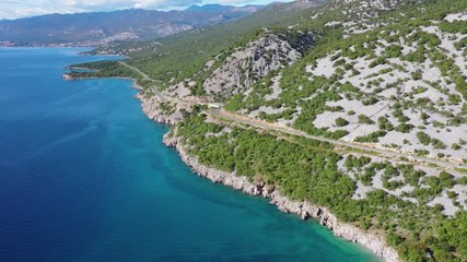 Wall Mural - Scenic Coastal Highway and Turquoise Waters of the Mediterranean Sea. Northern Croatia, Europe.