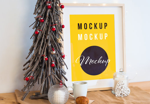 Frame Mockup with Holiday Decorations