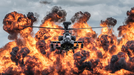 Foto op Plexiglas Helicopter Attack helicopter explosive demonstration