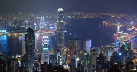 Wall Mural - Timelapse of Hong Kong city at night
