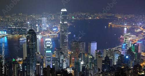 Wall mural Timelapse of Hong Kong city at night