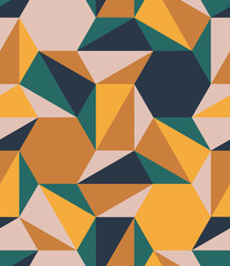 Colorful polygons shapes tile mosaic multi-colored blocks, seamless repeat vector pattern. Triangle, square, diamond, trapezoid, hexagon, polygon. Yellow ochre, peach skin, forest green, navy blue.