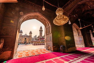 The main prayer hall of Wazir khan mosque, Lahore Pakistan.