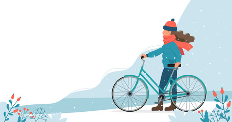 Girl with bike in the park in winter. Cute vector illustration in flat style.