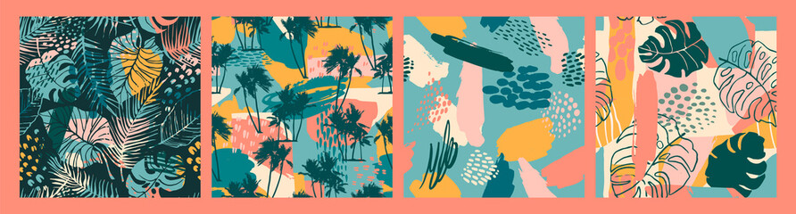 Abstract creative seamless patterns with tropical plants and artistic background.