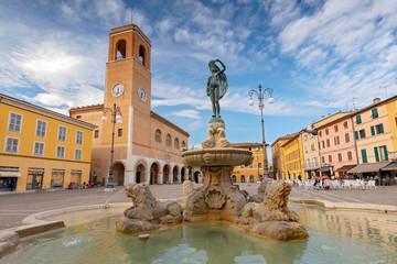 Fountain of Fortune and Palazzo del Podesta, Fano, Pesaro, Italy.