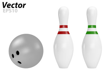 Pins and bowling ball in vector on white background.