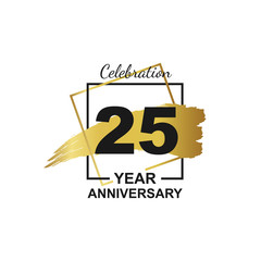 25th golden anniversary logo celebration with frame and hand drawn ink brush gold ribbon. Vector template element for your 25 birthday party poster greeting card on white background and black number.