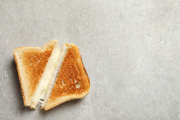 Fresh cheese sandwiches on grey table, top view. Space for text
