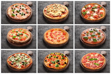 Collage with different pizzas on grey background