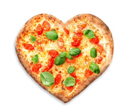 Delicious heart-shapped pizza on white background