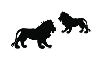 Lion black silhouette on a white background