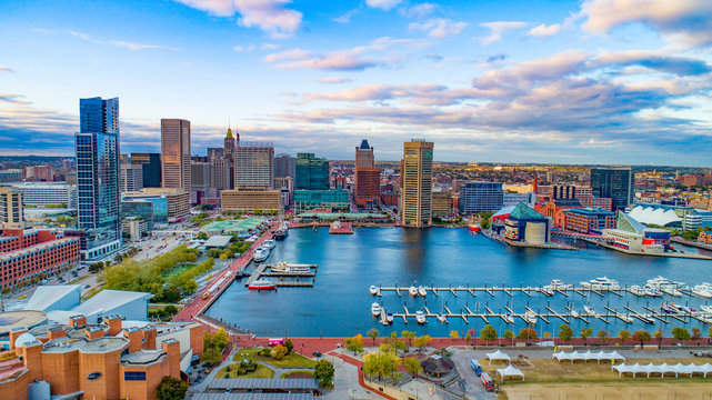 Baltimore, Maryland, USA Inner Harbor Skyline Aerial Panorama
