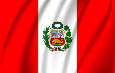 Realistic waving flag of the Waving Flag of Peru, high resolution Fabric textured flowing flag,vector EPS10