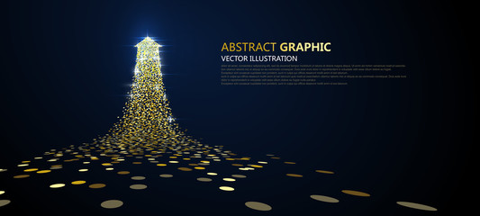 An arrow of golden particles, business concept,vector illustration. Wall mural