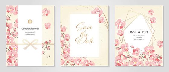 Vector illustration Japanese paper of plum/Anniversary Invitation / Celebration Card Set