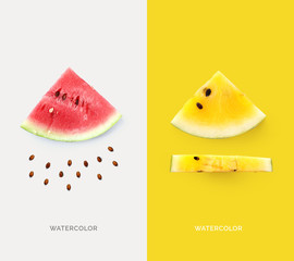 Creative layout made of pink and yellow watermelon. Flat lay. Food concept. Macro concept.