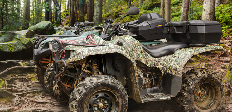 Atv vehicles standing in forest profile view.