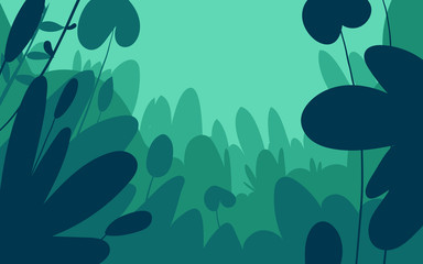 Poster Green coral Green forest silhouette nature landscape abstract background flat design.Vector illustration.