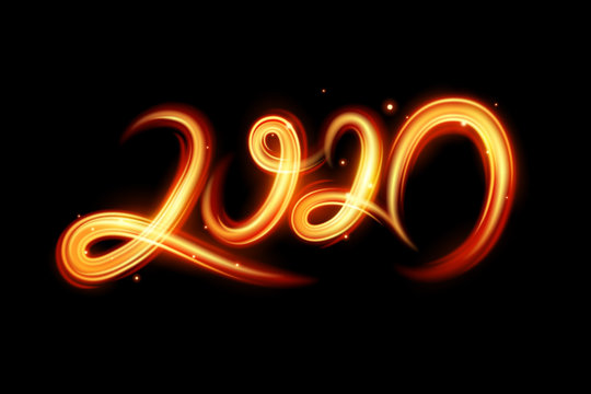 Fire motion effect to 2020 happy new year