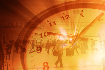 Working Hours Business Times with business people walking in subway overlay with clock concept.