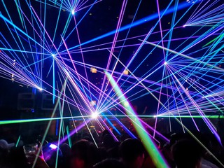 Colourful laser in a nightclub