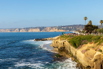 Beautiful cliffs, rocks, beach, along the Pacific Ocean at La Jolla in southern California