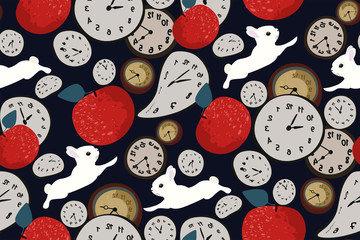 Abstract seamless pattern with clock, red apples and rabbits on dark blue background. Hand-drawn print. Wallpaper in vintage style Wonderland. Vector. Retro design.