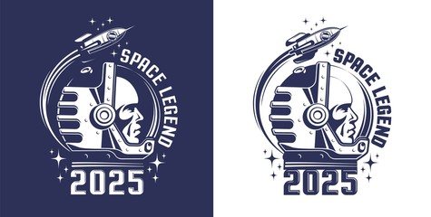 Astronaut in helmet logo in retro style. Spaceman in a space suit and a flying rocket - vintage emblem. Vector illustration.
