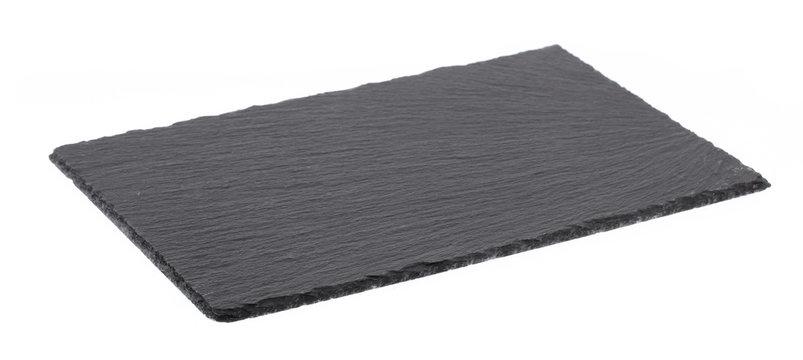 black stone empty rectangular, square dish isolated on white background.