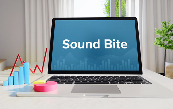 Sound Bite – Statistics/Business. Laptop in the office with term on the display. Finance/Economics.