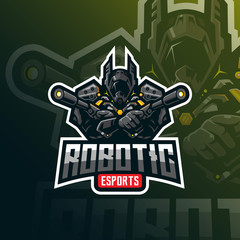 robotic mascot logo design vector with modern illustration concept style for badge, emblem and tshirt printing. robotic soldier illustration with weapons in hand.