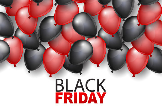 Black Friday banner design template. Big sale advertising promo concept with balloons and typography text. Vector illustration.