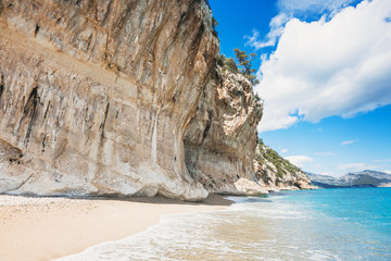 Beautiful Cala Luna beach near Cala Gonone village, Sardinia island, Italy. Famous landmark and...