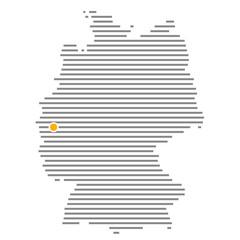 Köln oder Leverkusen mit oranger Markierung auf Deutschlandkarte
