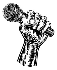 A fist hand holding a microphone or mic in a vintage intaglio woodcut engraved or retro propaganda style
