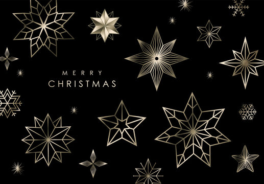 Christmas greeting card/ poster with golden stars and snowflakes on black colour background