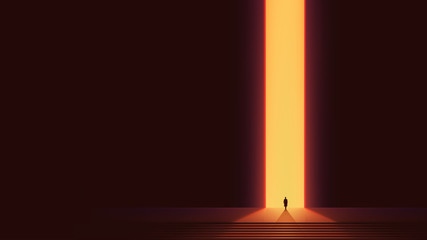 Man silhouette in front of glowing portal, futuristic vector background, Abstract cyberpunk architecture with gradient lighting